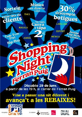 Diseño grafico El Prat de Llobregat-cartel SHOPPING NIGHT FERRAN PUIG