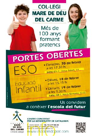 Diseño grafico El Prat de Llobregat-cartel PUERTAS ABIERTAS COLEGIO MARE DEU CARME